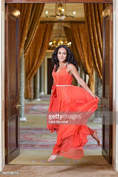 Tennis player Heather Watson is photographed at Stoke Park Country Club on April 19 2016 in Maidenhead England Dress Caroline Castigliano