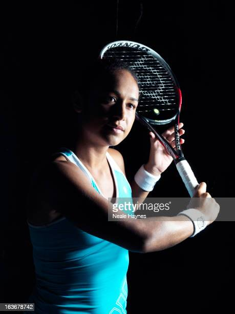 Tennis player Heather Watson is photographed for K Swiss clothing on December 7 2012 in London England