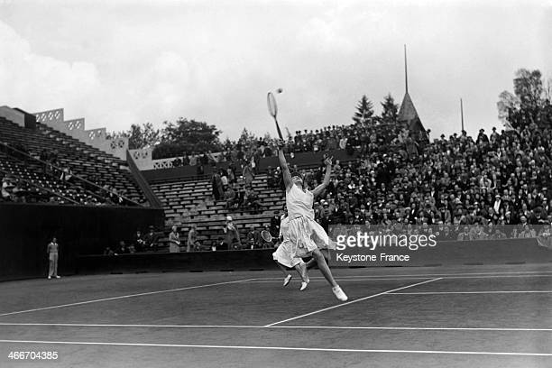 Tennis player Helen Wills at Roland Garros stadium in May 1932 in Paris France