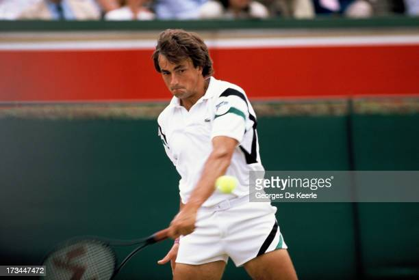 Tennis player Henri Leconte during the final match of the Men's Doubles at the Stella Artois Championships held at Queen's Club on June 1990 in...