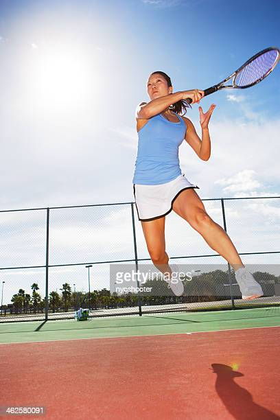 tennis player hitting forehand - tennis player stock pictures, royalty-free photos & images