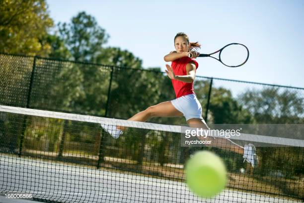 tennis player hitting forehand winner - tennis player stock pictures, royalty-free photos & images