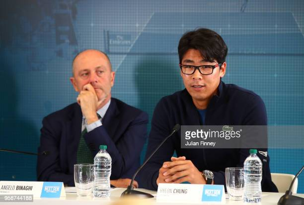 Tennis player Hyeon Chung of Korea talks about the plans for the NEXTGEN ATP Finals that will take place in Milan November 2018 during day three of...