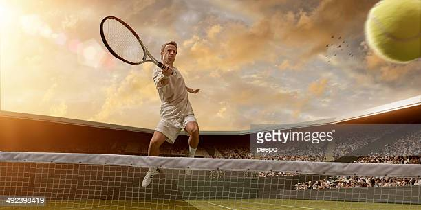 Tennis Player in Mid Air Volley