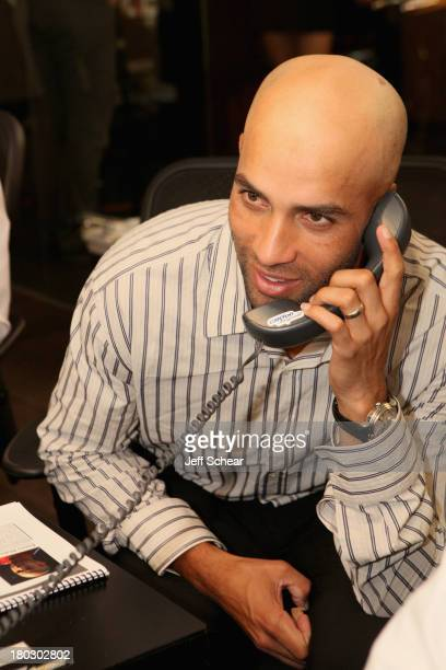 Tennis player James Blake fundraises at the Annual Charity Day Hosted By Cantor Fitzgerald And BGC at the Cantor Fitzgerald Office on September 11...