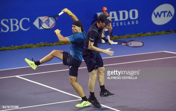 UK tennis player Jamie Murray and his partner Brazilian tennis player Bruno Soares against Germany tennis player Philipp Petzschner and Pakistani...