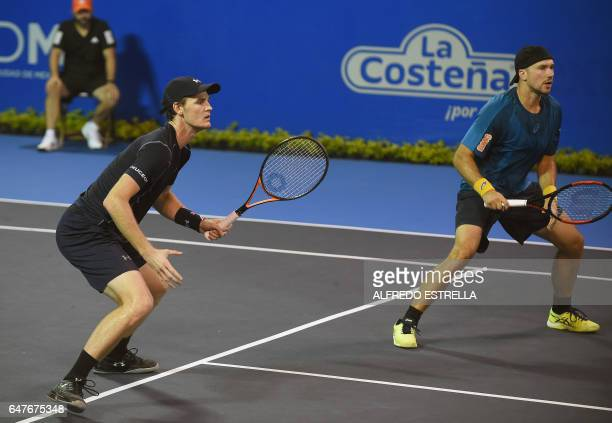 Tennis player Jamie Murray and his partner Brazilian tennis player Bruno Soares against Germany tennis player Philipp Petzschner and Pakistani tennis...