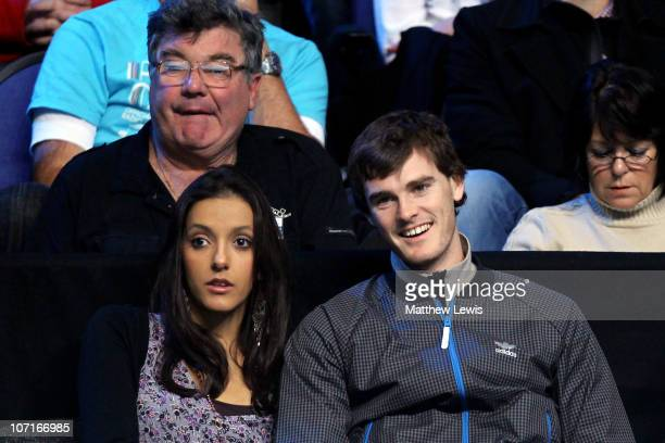 Tennis player Jamie Murray and his wife Alejandra Gutierrez watch the Andy Murray and Rafael Nadal men's semifinal match against of Spain during the...