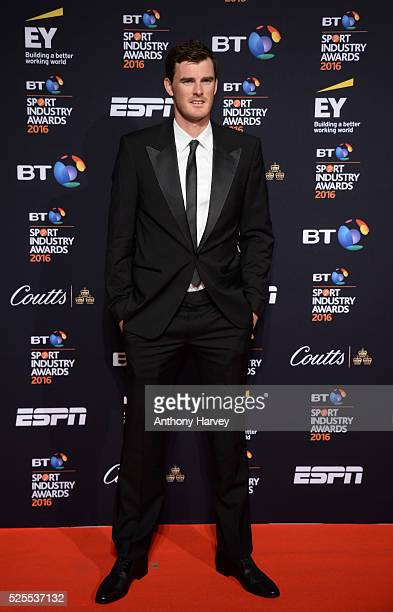 Tennis player Jamie Murray poses on the red carpet at the BT Sport Industry Awards 2016 at Battersea Evolution on April 28, 2016 in London, England....