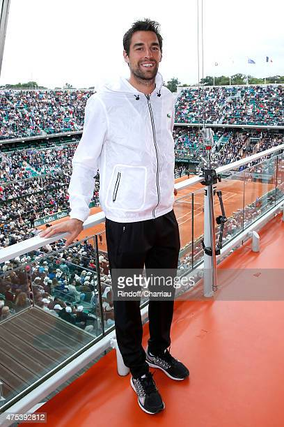 Tennis Player Jeremy Chardy poses at France Television french chanel studio during the 2015 Roland Garros French Tennis Open - Day Eight, on May 31,...