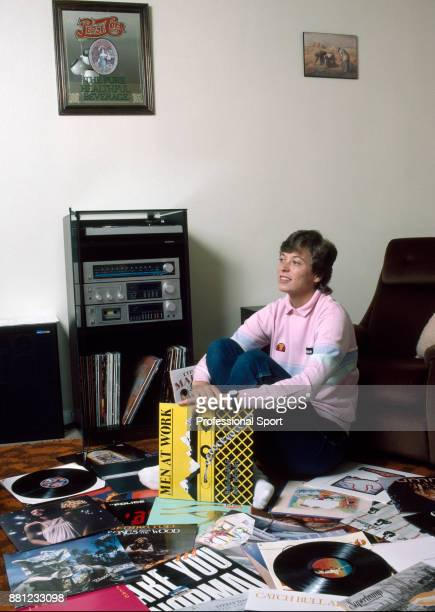 Tennis player Jo Durie of Great Britain relaxes at home amongst her records circa 1983