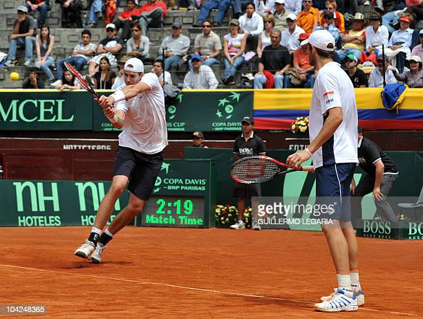 US tennis player John Isner and teammate Mardy Fish play against Carlos Salamanca and Robert Farah of Colombia during their Davis Cup World Group...
