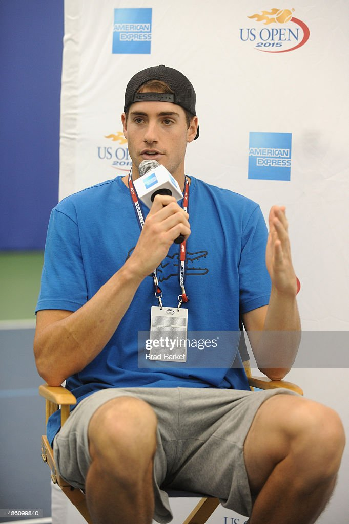 Tennis player John Isner speaks at The American Express Fan Experience during The 2015 US Open at USTA Billie Jean King National Tennis Center on August 31, 2015 in New York City.