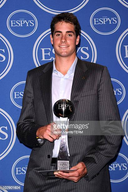 Tennis player John Isner winner of the Best RecordBreaking Performance Award poses in press room during the 2010 ESPY Awards at Nokia Theatre LA Live...