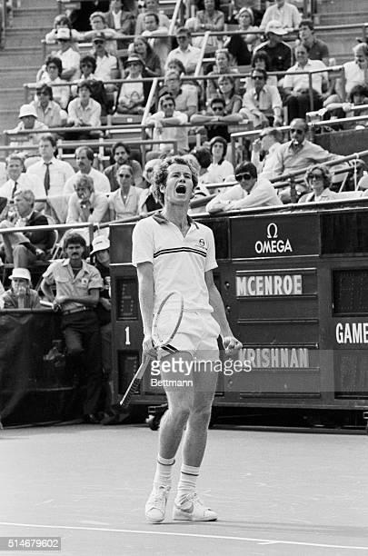 Tennis player John McEnroe starts screaming during a 1981 US Open match against Ramesh Krishnan.