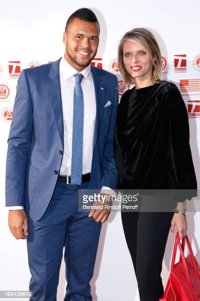Tennis Player Jo-Wilfried Tsonga and CEO of Miss France Company Sylvie Tellier attend Annual Photocall for Roland Garros Tennis Players at 'Residence...