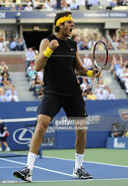 Tennis player Juan Martin Del Potro from Argentina reacts playing against Roger Federer from Switzerland during the final of the 2009 US Open at the...