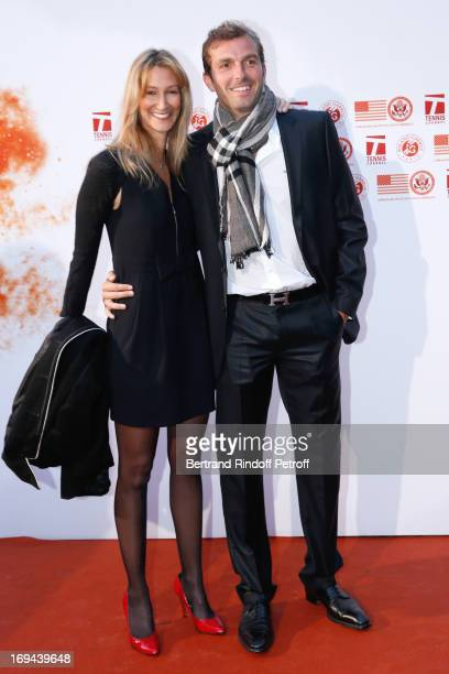 Tennis Player Julien Beneteau and wife Karen attend Annual Photocall for Roland Garros Tennis Players at 'Residence De L'Ambassadeur Des EtatsUnis'...