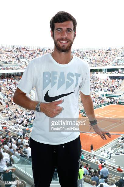 Tennis player Karen Khachanov poses at France Televisions french chanel studio during the 2019 French Tennis Open Day Ten at Roland Garros on June 04...