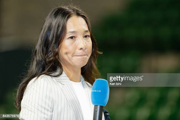 Tennis player Kimiko Date speaks during a press conference on her second retirement at Ariake Coliseum on September 7 2017 in Tokyo Japan Date once...