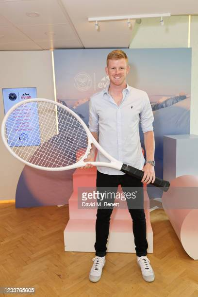 Tennis Player Kyle Edmund poses in evian's VIP suite, certified as carbon neutral by The Carbon Trust, during day five of The Championships,...