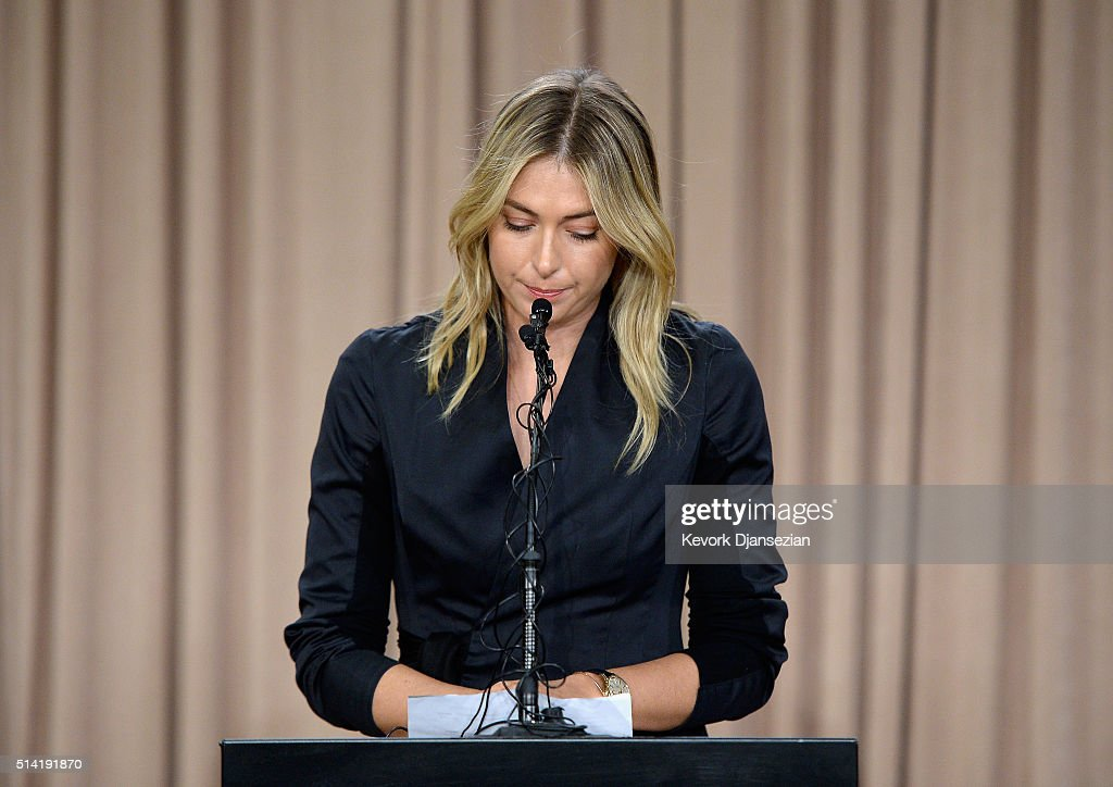 Tennis player Maria Sharapova addresses the media regarding a failed drug test at The LA Hotel Downtown on March 7, 2016 in Los Angeles, California. Sharapova, a five-time major champion, is currently the 7th ranked player on the WTA tour. Sharapova, withdrew from this week's BNP Paribas Open at Indian Wells due to injury.