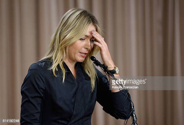 Tennis player Maria Sharapova addresses the media regarding a failed drug test at The LA Hotel Downtown on March 7, 2016 in Los Angeles, California....