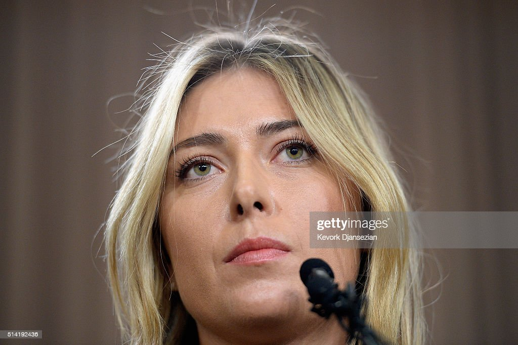 Tennis player Maria Sharapova addresses the media regarding a failed drug test at The LA Hotel Downtown on March 7, 2016 in Los Angeles, California. Sharapova, a five-time major champion, is currently the 7th ranked player on the WTA tour. Sharapova, withdrew from this week''s BNP Paribas Open at Indian Wells due to injury.