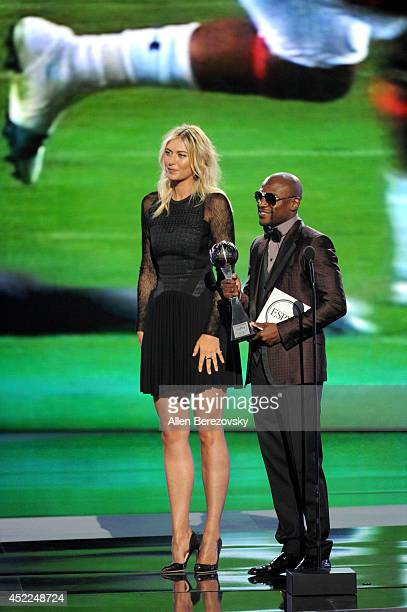 Tennis player Maria Sharapova and boxer Floyd Mayweather Jr speak onstage at the 2014 ESPY Awards at Nokia Theatre LA Live on July 16 2014 in Los...