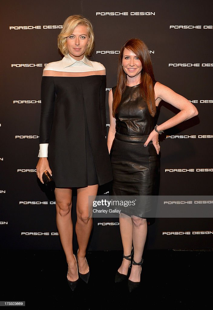 Tennis player Maria Sharapova and costume designer Janie Bryant attend the Porsche Design and Vogue re-opening event at Porsche Design Beverly Hills on July 11, 2013 in Beverly Hills, California.