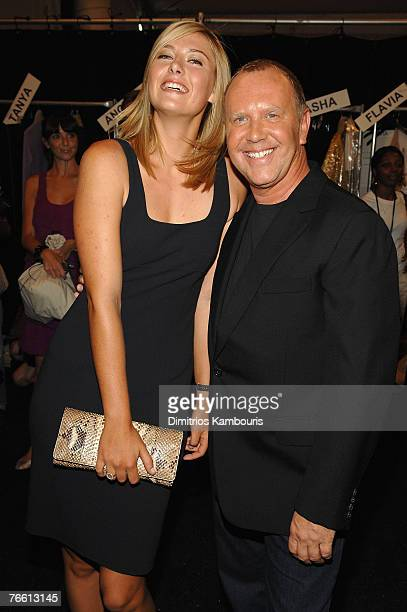 Tennis player Maria Sharapova and designer Michael Kors at Michael Kors Spring 2008 during Mercedes-Benz Fashion Week at the Tent, Bryant Park on...