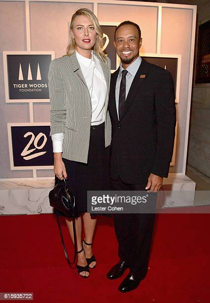 Tennis player Maria Sharapova and Tiger Woods attend the Tiger Woods Foundation's 20th Anniversary Celebration at the New York Public Library on...