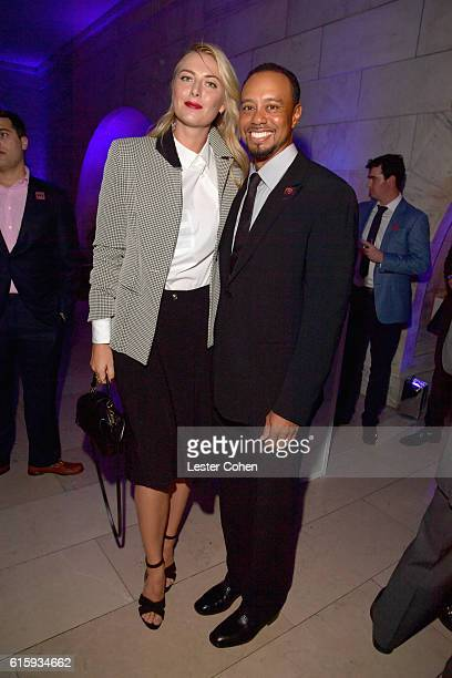 Tennis player Maria Sharapova and Tiger Woods attend Tiger Woods Foundation's 20th Anniversary Celebration at the New York Public Library on October...