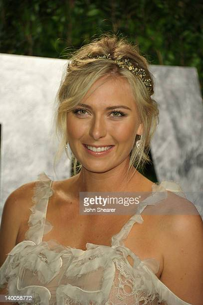 Tennis player Maria Sharapova arrives at the 2012 Vanity Fair Oscar Party hosted by Graydon Carter at Sunset Tower on February 26 2012 in West...