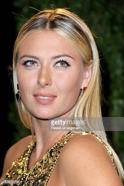 Tennis player Maria Sharapova arrives at the 2013 Vanity Fair Oscar Party hosted by Graydon Carter at Sunset Tower on February 24 2013 in West...