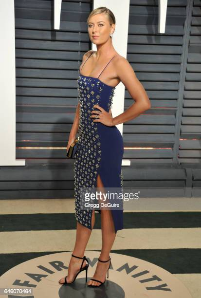 Tennis player Maria Sharapova arrives at the 2017 Vanity Fair Oscar Party Hosted By Graydon Carter at Wallis Annenberg Center for the Performing Arts...