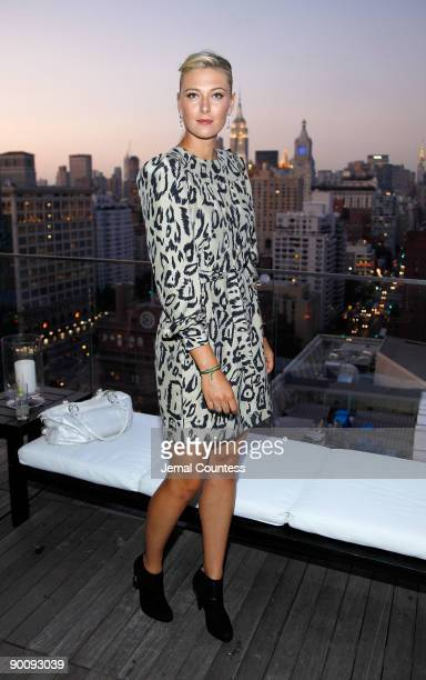 Tennis player Maria Sharapova attends a cocktail party honoring two greats at their game hosted by InStyle and Tiffany Co at The Cooper Square Hotel...
