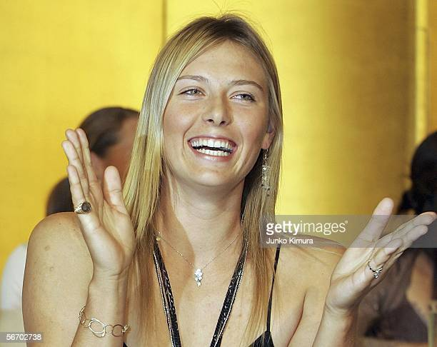 Tennis player Maria Sharapova attends a press conference for the Toray Pan Pacific Open Tennis Tournament 2006 on January 30 2006 in Tokyo Japan The...