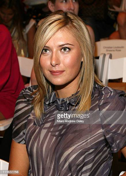 Tennis player Maria Sharapova attends Peter Som Spring 2008 Fashion Show at The Promenade in Bryant Park during MercedesBenz Fashion Week on...
