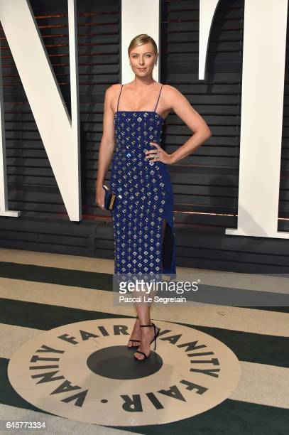 Tennis player Maria Sharapova attends the 2017 Vanity Fair Oscar Party hosted by Graydon Carter at Wallis Annenberg Center for the Performing Arts on...