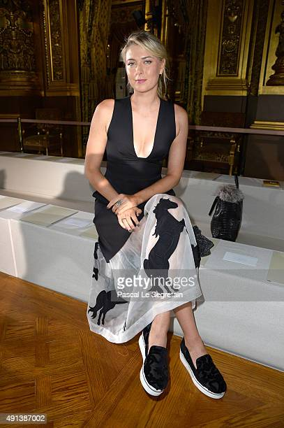 Tennis player Maria Sharapova attends the Stella McCartney show as part of the Paris Fashion Week Womenswear Spring/Summer 2016 on October 5 2015 in...