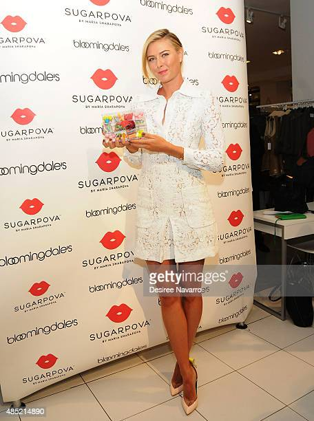 Tennis player Maria Sharapova celebrates the new Sugarpova popup shop at Bloomingdale's on August 25 2015 in New York City