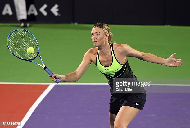 Tennis player Maria Sharapova competes in the World TeamTennis Smash Hits charity tennis event benefiting the Elton John AIDS Foundation at Caesars...
