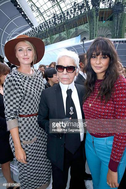 Tennis Player Maria Sharapova Karl Lagerfeld and Actress Courtney Eaton pose after the Chanel show as part of the Paris Fashion Week Womenswear...