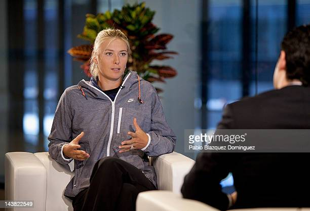 Tennis Player Maria Sharapova of Russia during a TV interview at the WTA AllAccess Hour during the Mutua Madrilena Madrid Open tennis tournament at...