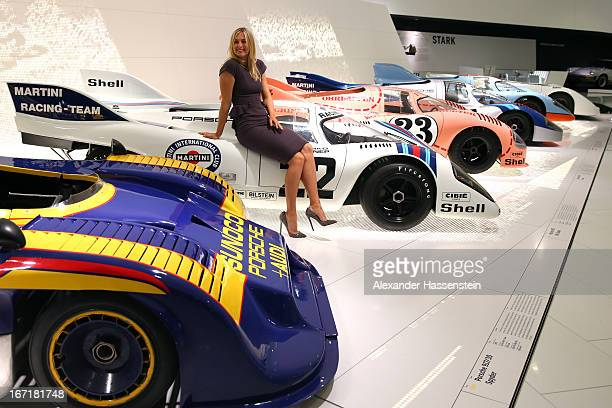 Tennis player Maria Sharapova poses at the Porsche Museum on April 22 2013 in Stuttgart Germany