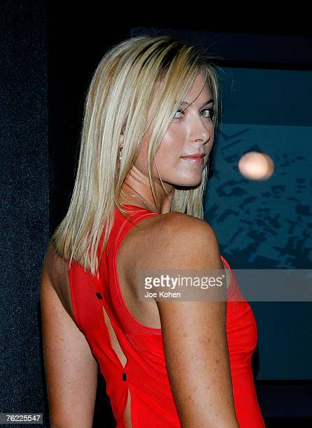 Tennis player Maria Sharapova unveils her new night dress performance designs by Nike for her 2007 US Open title defence on August 22 2007 in New...