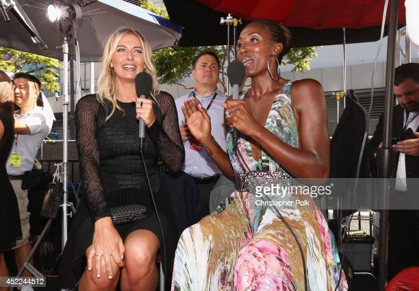 Tennis player Maria Sharapova with former WNBA player Lisa Leslie attends The 2014 ESPYS at Nokia Theatre LA Live on July 16 2014 in Los Angeles...