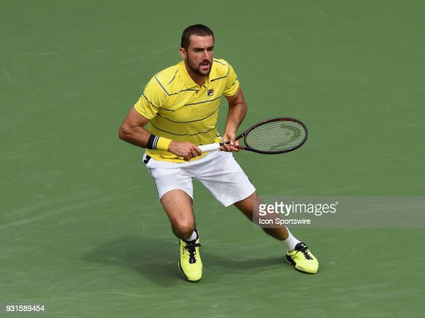 ATP tennis player Marin Cilic in action during the second set of a match played at the BNP Paribas Open on March 13 2018 at the Indian Wells Tennis...