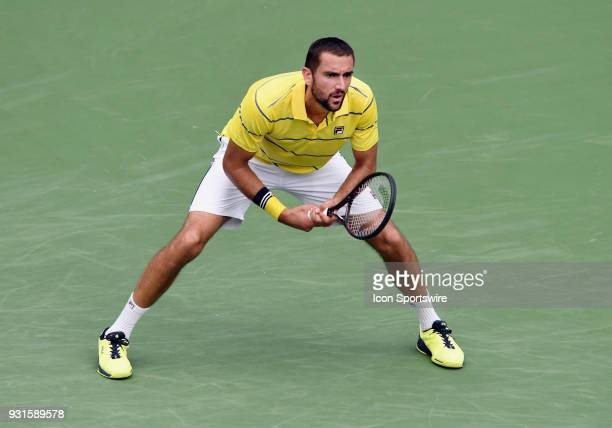 ATP tennis player Marin Cilic waits for a serve during the second set of a match played at the BNP Paribas Open on March 13 2018 at the Indian Wells...